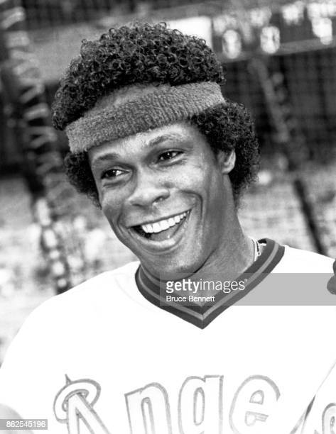 Rod Carew of the California Angels smiles and wears a head band during batting practice before an MLB game against the New York Yankees on July 23...