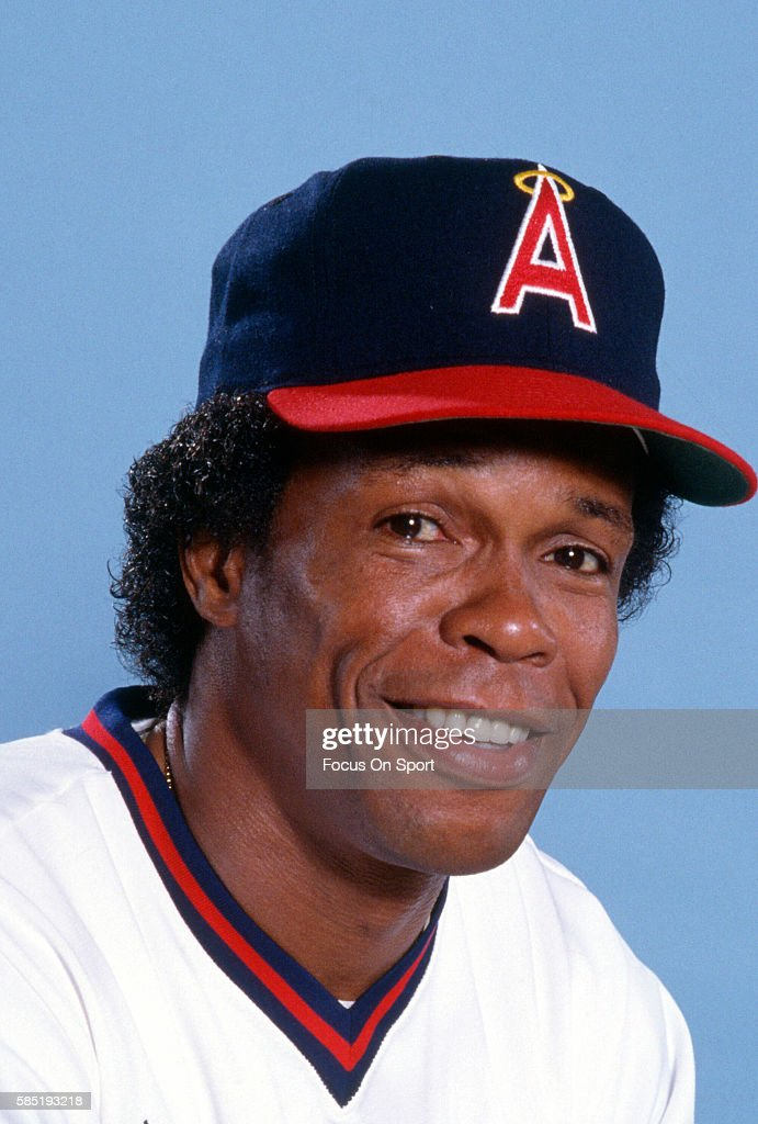 Rod Carew #29 of the California Angels smiles in this portrait during during Major League Baseball spring training circa 1985. Carew played for the Angels from 1979-85.