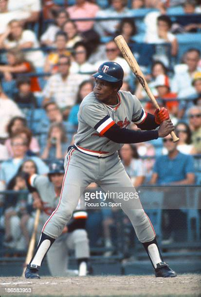 Rod Carew of the Minnesota Twins bats against the Baltimore Orioles during an Major League Baseball game circa 1970 at Memorial Stadium in Baltimore...