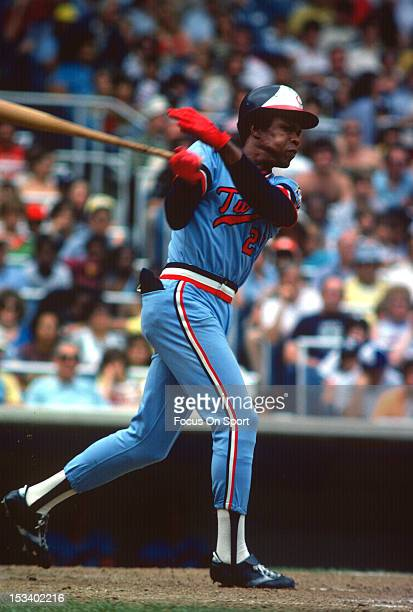 Rod Carew of the Minnesota Twins bats against the New York Yankees during an Major League Baseball game circa 1977 at Yankee Stadium in the Bronx...