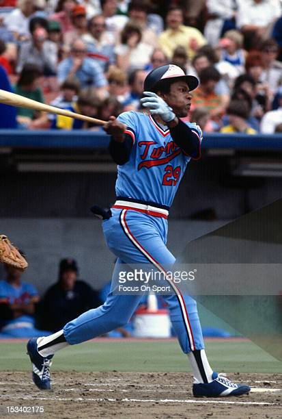 Rod Carew of the Minnesota Twins bats during an Major League Baseball game circa 1978 Carew played for the Twins from 196778