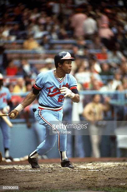 Rod Carew of the Minnesota Twins heads toward first during a 1976 season MLB game
