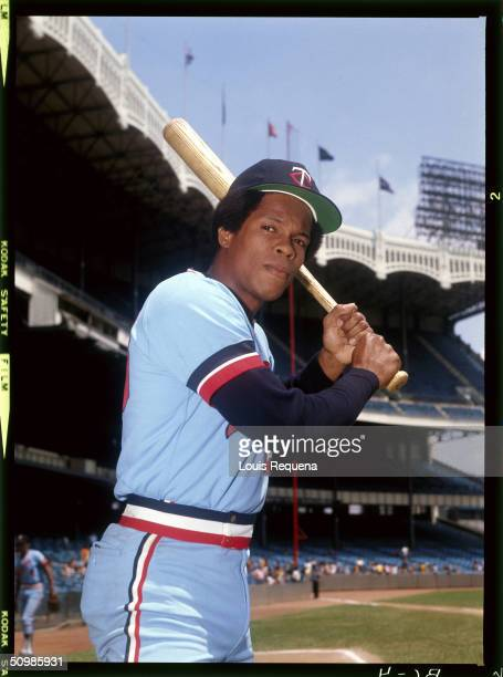 Rod Carew of the Minnesota Twins poses for a portrait at Yankee Stadium in Bronx New York circa 1976
