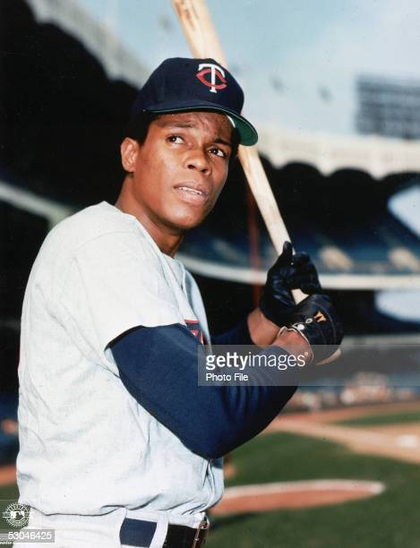 Rod Carew of the Minnesota Twins poses in his batting stance before a game at Yankee Stadium in the Bronx New York Rod Carew played for the Minnesota...