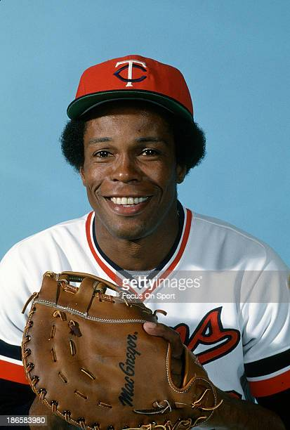 Rod Carew of the Minnesota Twins sits for smiles in this portrait during a photo session during Major League Baseball spring training circa 1976 in...