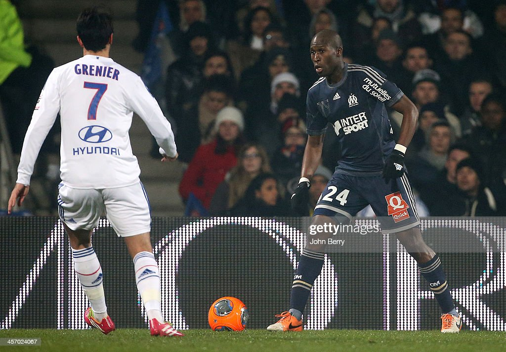 Rod Fanni of Marseille in action during the french Ligue 1 match between Olympique Lyonnais OL and Olympique de Marseille OM at the Stade Gerland on...