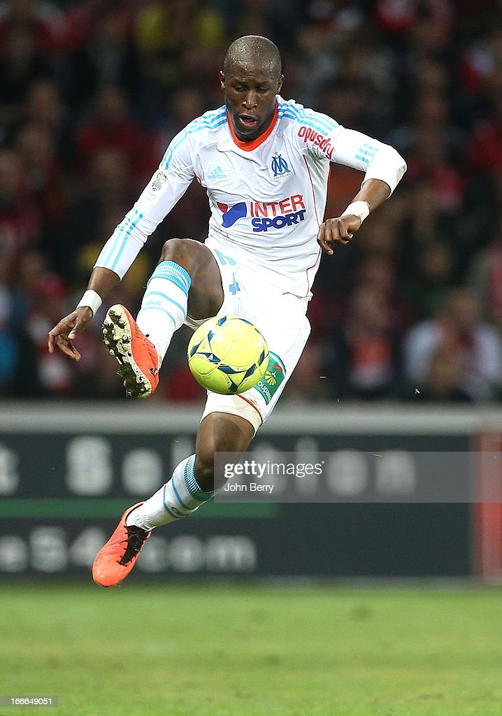 Rod Fanni of Marseille in action during the Ligue 1 match between Lille OSC LOSC and Olympique de Marseille OM at the Grand Stade Lille Metropole on...