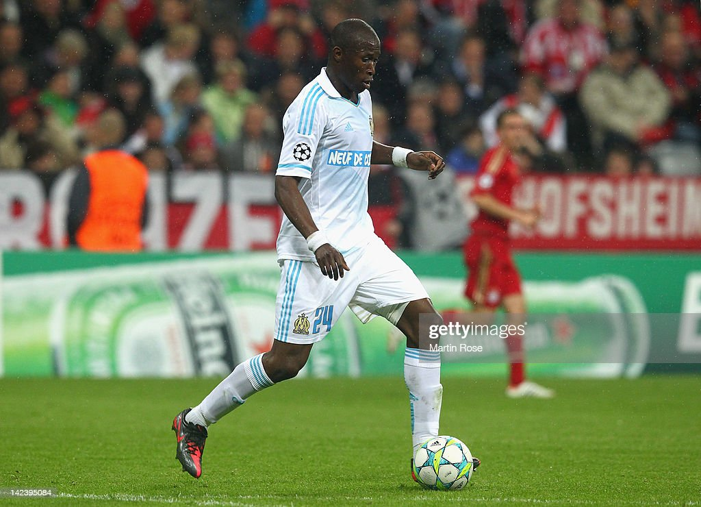 Rod Fanni of Marseille runs with the ball during the UEFA Champions League quarterfinal second leg match at Allianz Arena on April 3 2012 in Munich...