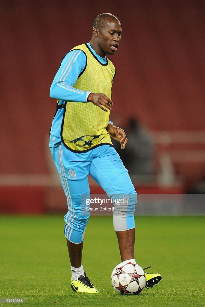 Rod Fanni of Olympic de Marseille warms up during a training session at Emirates Stadium on November 25 2013 in London England