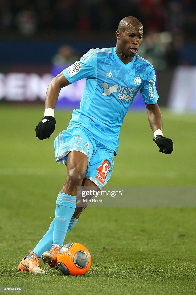 Rod Fanni of Olympique de Marseille in action during the Ligue 1 match between Paris SaintGermain FC and Olympique de Marseille at Parc des Princes...