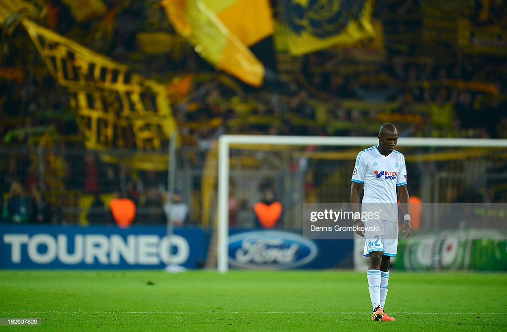 Rod Fanni of Olympique Marseille looks dejected during the UEFA Champions League Group F match between Borussia Dortmund and Olympique de Marseille...
