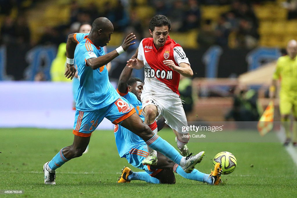 Rod Fanni of OM and Bernardo Silva of Monaco in action during the French Ligue 1 match between AS Monaco FC v Olympique de Marseille OM at Stade...