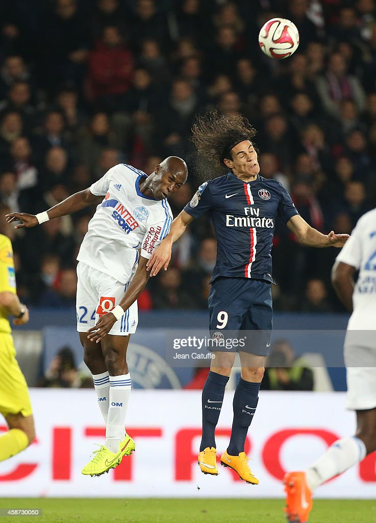Rod Fanni of OM and Edinson Cavani of PSG in action during the French Ligue 1 match between Paris SaintGermain FC and Olympique de Marseille OM at...