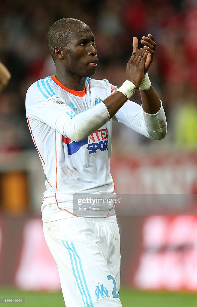 Rod Fanni thanks the supporters of Marseille at the end of the Ligue 1 match between Lille OSC LOSC and Olympique de Marseille OM at the Grand Stade...