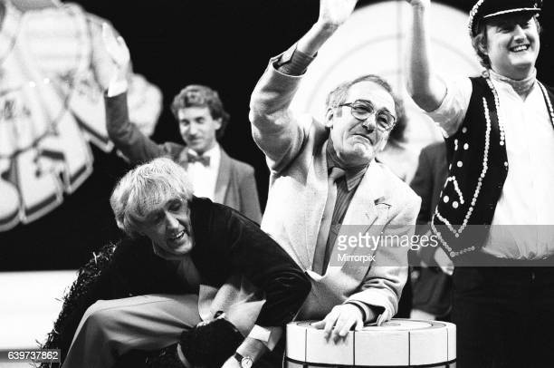 Rod Hulll and Emu seen here with Jim Bowen during a cheque presentation to the NSPCC during the record of Bullseye 28th October 1984