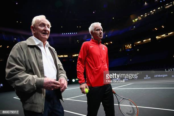 Rod Laver and John McEnroe of United States take a look inside the arena ahead of the Laver Cup on September 20 2017 in Prague Czech Republic The...