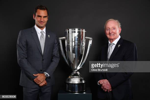 Rod Laver and Roger Federer pose with the Laver Cup trophy at the unveiling of the Laver Cup trophy at Cannizaro House on June 29 2017 in Wimbledon...
