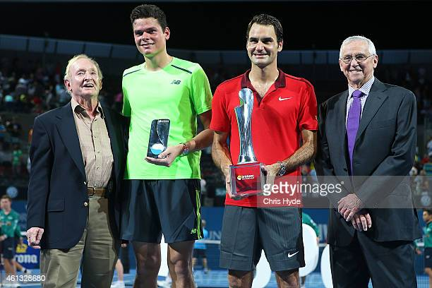 Rod Laver Milos Raonic Roger Federer and Roy Emerson pose after the Mens final on day eight of the 2015 Brisbane International at Pat Rafter Arena on...