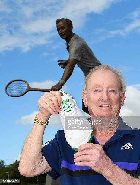 Rod Laver poses after launching his very own shoe the Adidas Rod Laver Super shoe during day three of the 2017 Australian Open at Melbourne Park on...
