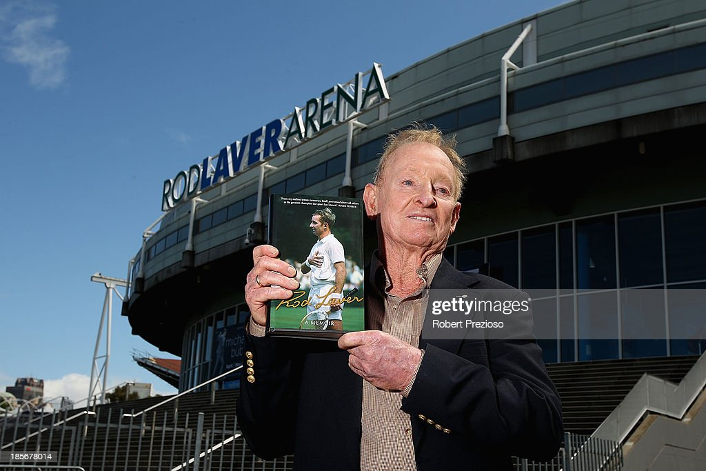 Rod Laver poses for photos after the launch of Rod Laver's official memoirs at Rod Laver Arena on October 24 2013 in Melbourne Australia
