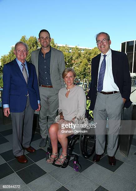Rod Laver poses with 2017 International Tennis Hall of Fame inductees Andy Roddick Monique Kalkmanvan den Bosch and Steve Flink during day nine of...