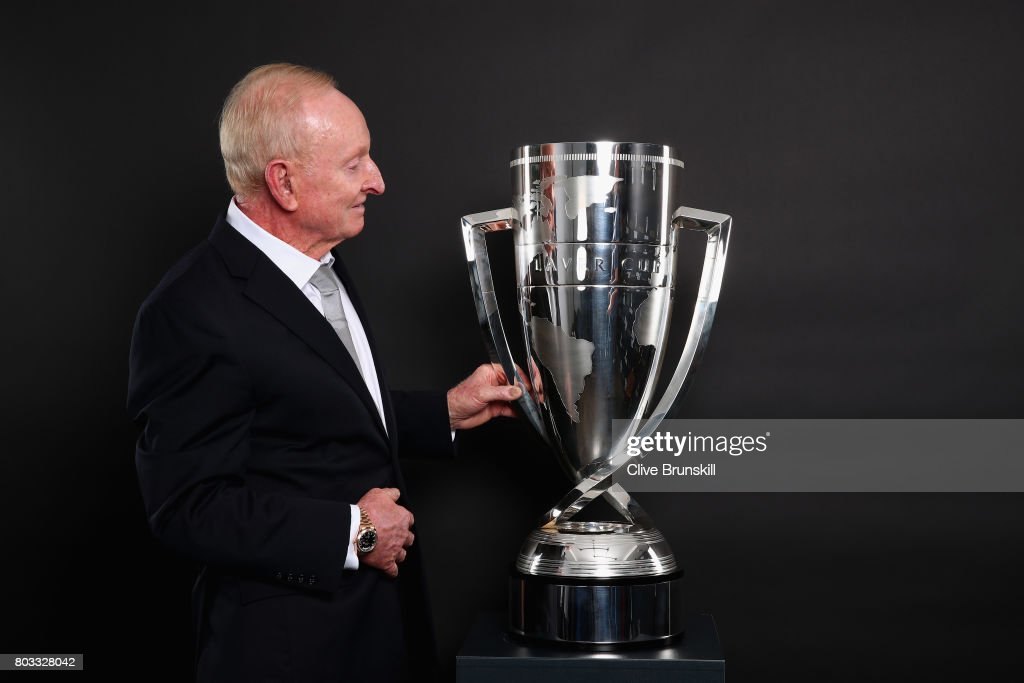 Rod Laver poses with the Laver Cup trophy at the unveiling of the Laver Cup trophy at Cannizaro House on June 29, 2017 in Wimbledon, England.