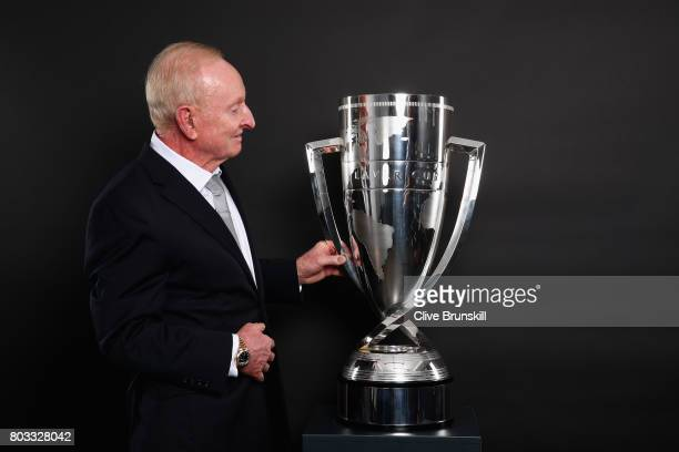 Rod Laver poses with the Laver Cup trophy at the unveiling of the Laver Cup trophy at Cannizaro House on June 29 2017 in Wimbledon England