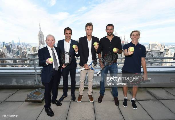 Rod Laver Roger Federer Tomas Berdych Marin Cilic and Denis Shapovalov attend Laver Cup Team Announcement on August 23 2017 in New York City
