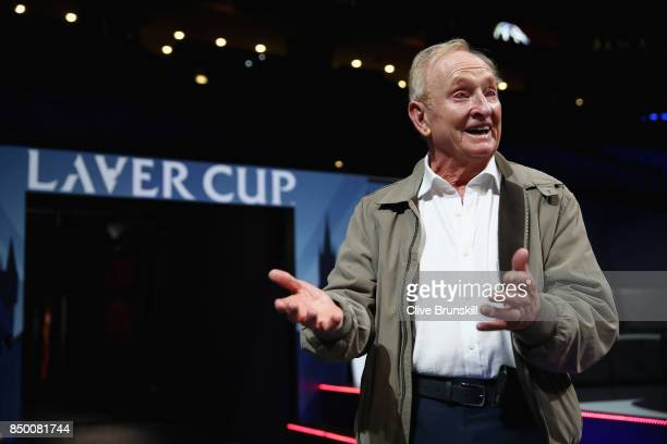 Rod Laver sees the arena for the first time ahead of the Laver Cup on September 20 2017 in Prague Czech Republic The Laver Cup consists of six...