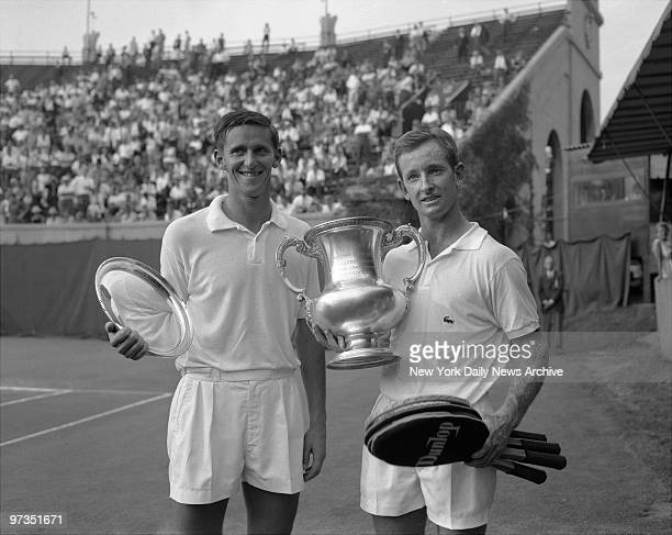 Rod Laver the newest Triple crown winner in Tennis poses with Roy Emerson They are both Australians