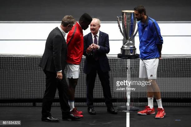 Rod Laver tosses a coin ahead of the match between Frances Tiafoe of Team World and Marin Cilic of Team Europe on the first day of the Laver Cup on...