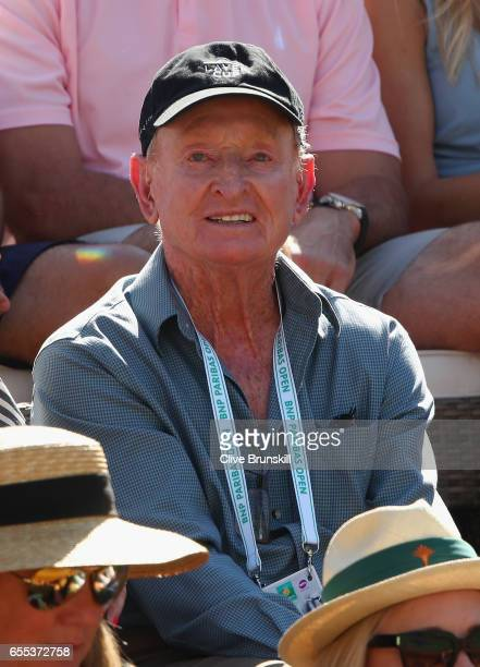 Rod Laver wears a Laver Cup Cap as he watches Roger Federer of Switzerland as he plays against Stanislas Wawrinka of Switzerland in the mens final...