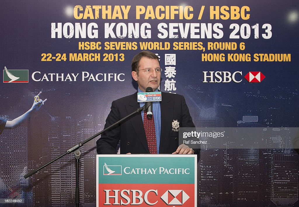 Rod Mason, Tournament Operations Director, speaks during the Cathay Pacific/HSBC Hong Kong Sevens 2013 Official Draw held at Hysan Place, on February 21, 2013 in Hong Kong.