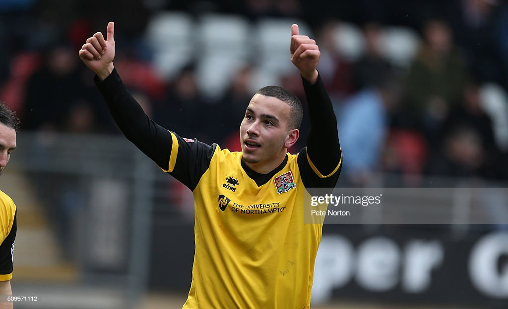 Rod McDonald of Northampton Town celebrates after scoring his sides first goal during the Sky Bet League Two match between Leyton Orient and Northampton Town at Matchroom Stadium on February 13, 2016 in London, England.