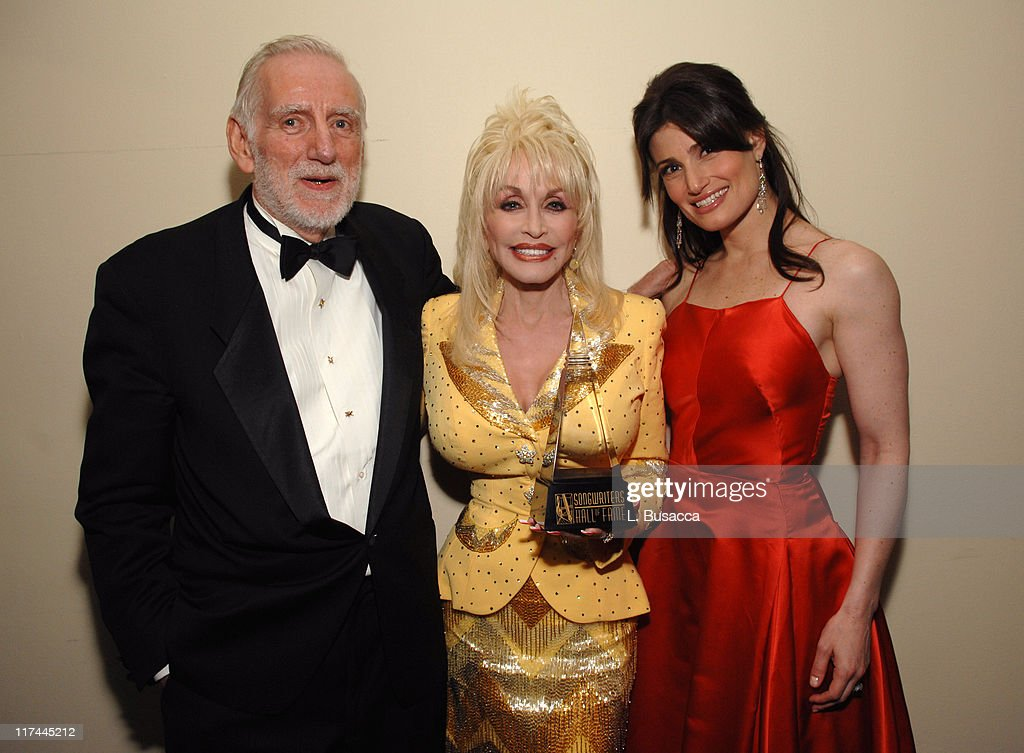 Rod McKuen, Dolly Parton and Idina Menzel during 38th Annual Songwriters Hall of Fame Ceremony - Cocktails and Backstage at Marriott Marquis in New York City, New York, United States.
