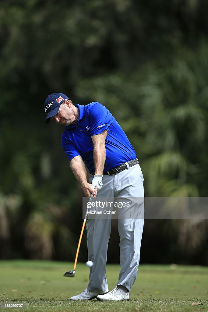 Rod Pampling of Australia hits a drive during the final round of the Web.com Tour Championship held on the Dye's Valley Course at TPC Sawgrass on September 29, 2013 in Ponte Vedra Beach, Florida.