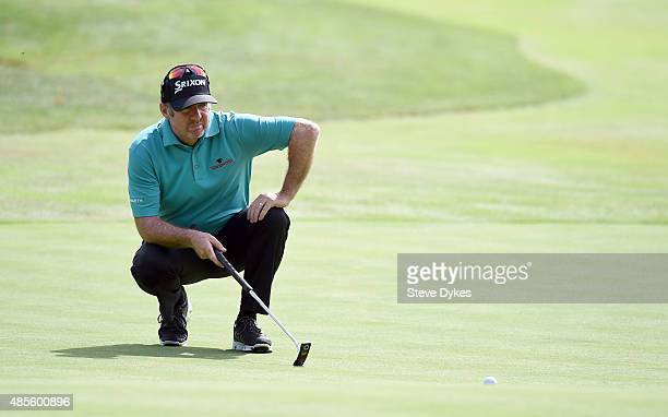Rod Pampling of Australia lines up his birdie putt attempt on the 16th hole during the second round of the WinCo Foods Portland Open on August 28...