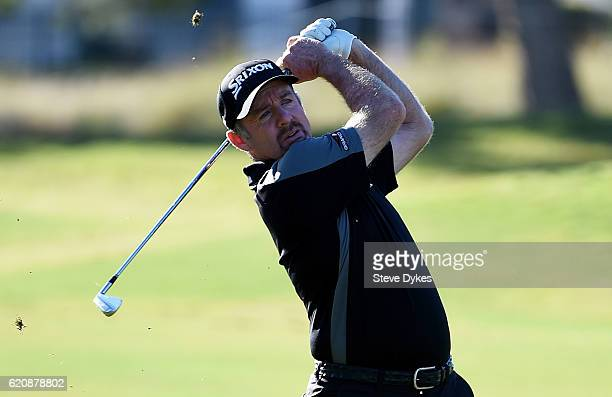 Rod Pampling of Australia plays a shot on the ninth hole during the first round of the Shriners Hospitals For Children Open on November 3 2016 in Las...