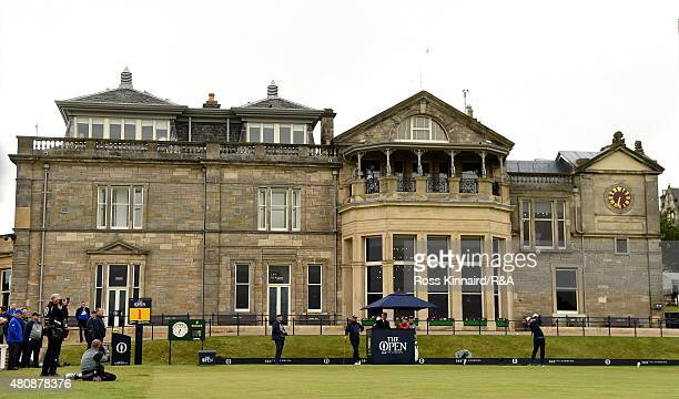 Rod Pampling of Australia plays off the first tee during the first round of the 144th Open Championship at The Old Course on July 16 2015 in St...