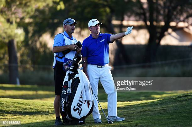 Rod Pampling of Australia prepares to play from the ninth fairway during the second round of the Shriners Hospitals For Children Open on November 4...