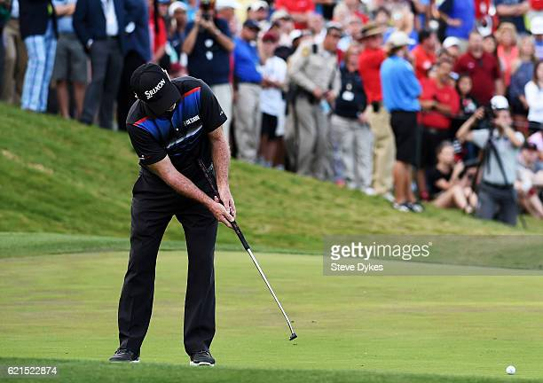 Rod Pampling of Australia putts for birdie to win on the 18th green during the final round of the Shriners Hospitals For Children Open on November 6...
