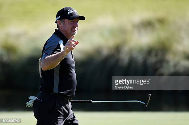 Rod Pampling of Australia reacts on the 18th green during the first round of the Shriners Hospitals For Children Open on November 3 2016 in Las Vegas...