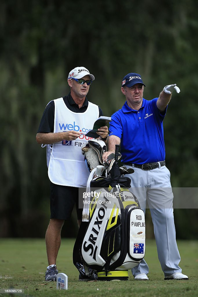 Rod Pampling of Australia stands by his golf bag during the final round of the Web.com Tour Championship held on the Dye's Valley Course at TPC Sawgrass on September 29, 2013 in Ponte Vedra Beach, Florida.