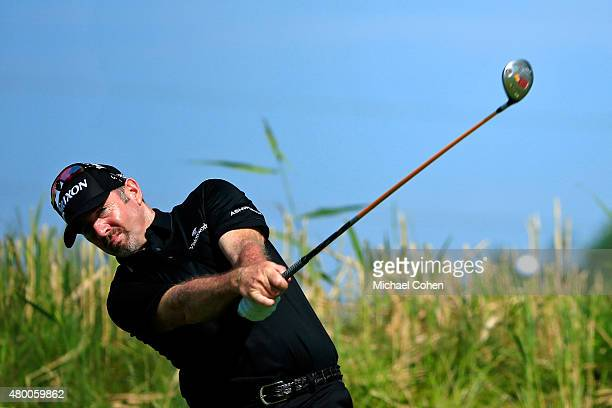 Rod Pampling tees off on the 11th hole during the first round of the John Deere Classic held at TPC Deere Run on July 9 2015 in Silvis Illinois