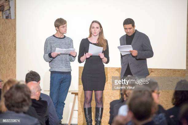 Rod Paradot Mailys Favraud and Montassar Alaia read 'Tombeau pour Cinq Cent Mille Soldats' for 50th anniversary of the book at Azzedine Alaia Gallery...