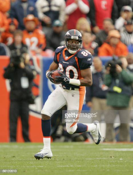 Rod Smith of the Denver Broncos carries the ball during the game against the Philadelphia Eagles on October 30 2005 at Invesco Field at Mile High in...