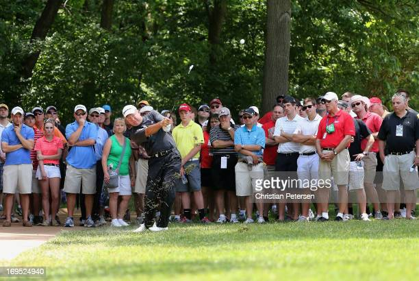 Rod Spittle of Canada plays his second shot on the first hole during the Final Round of the Senior PGA Championship presented by KitchenAid at...