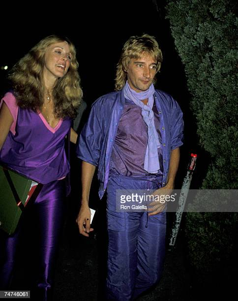 Rod Stewart and Alana Hamilton at the Flippers Roller Disco in Sherman Oaks California