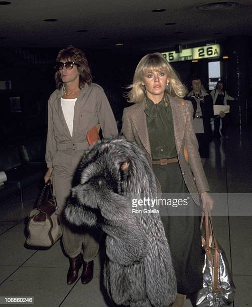 Rod Stewart and Britt Ekland during Rod Stewart and Britt Ekland Sighting at the Los Angeles International Airport April 5 1977 at Los Angeles...