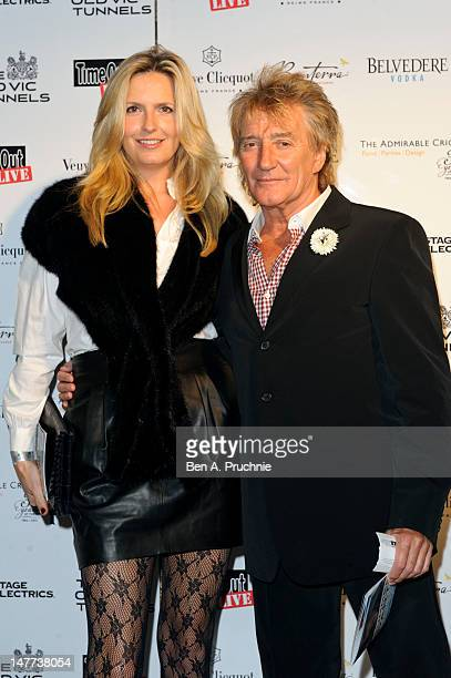 Rod Stewart and Penny Lancaster arrive at The Old Vic Tunnels Summer Fundraiser hosted by Sally Greene at The Old Vic Tunnels on July 2 2012 in...